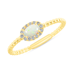 Diamond and Genuine Opal Gemstone Birthstone Ring in Yellow Gold