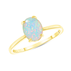 Oval Solitaire Lab Created Opal Gemstone Birthstone Ring in Yellow Gold