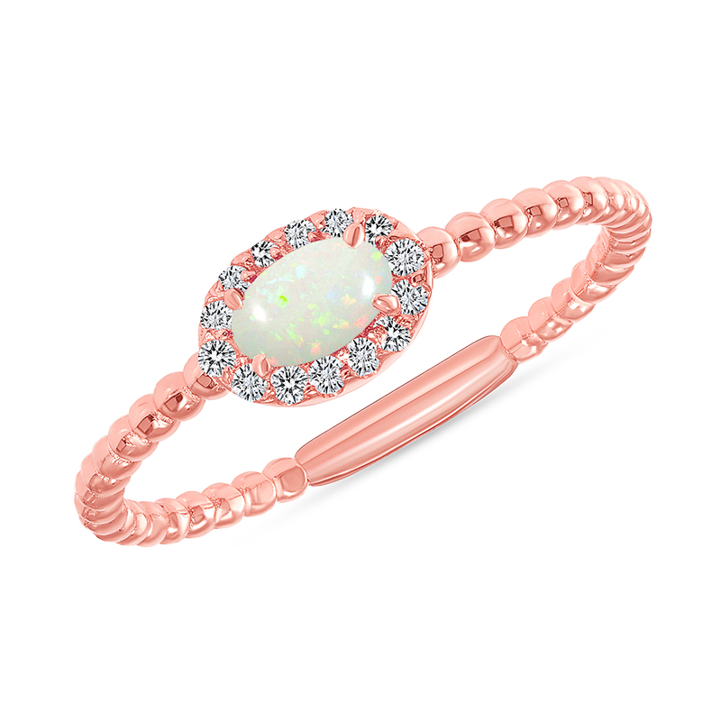 Diamond and Genuine Opal Gemstone Birthstone Ring in Rose Gold