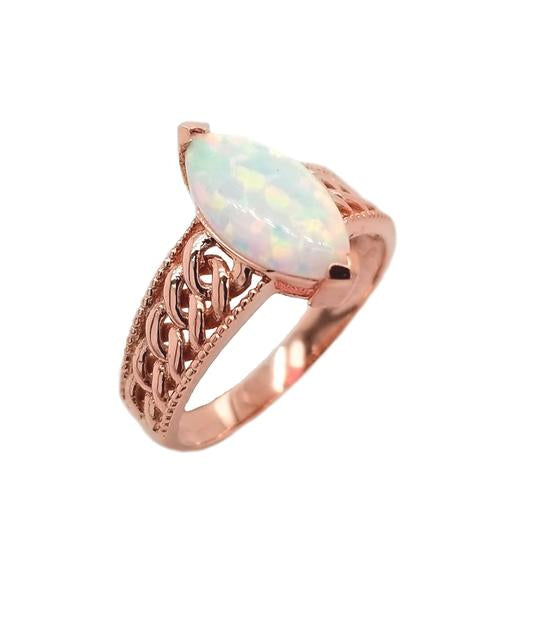 White Opal Statement Oval Ring In Solid Rose Gold