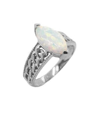 Oval White Opal Statement Ring In Solid White Gold