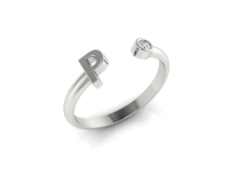 Dainty Diamond Initial 'P' Ring in White Gold