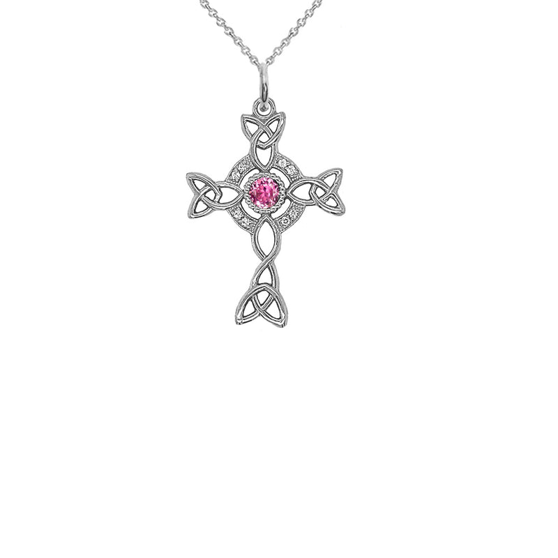 Diamond Irish Celtic Cross with June Birthstone Pendant Necklace in Sterling Silver