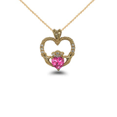 Claddagh Heart Diamond & October Birthstone Pink CZ Rope Pendant/Necklace in Solid Gold