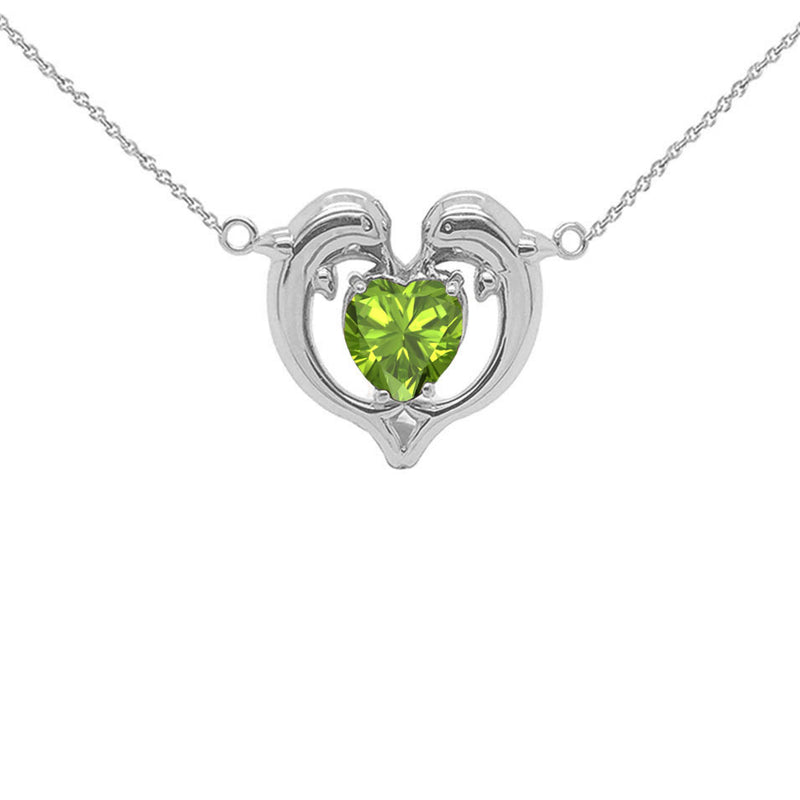 Dolphin Duo Open Heart-Shaped Genuine Birthstone Necklace in Sterling Silver