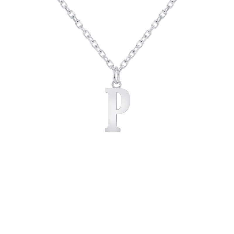 "Customizable Initial ""P"" Pendant Necklace in Sterling Silver"