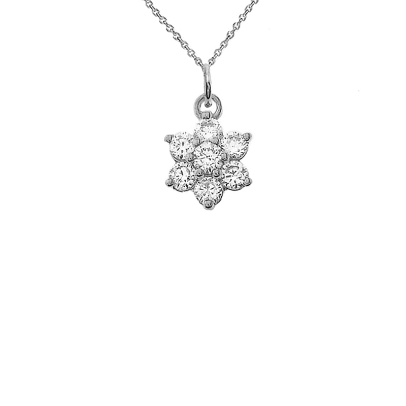 CZ Flower Cluster Pendant Necklace in Solid Gold
