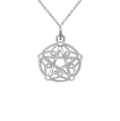 Sterling Silver Pentagram Rope Pendant/Necklace with Cubic Zirconia