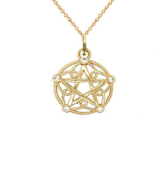 Solid Gold Pentagram Rope Pendant/Necklace with Diamonds