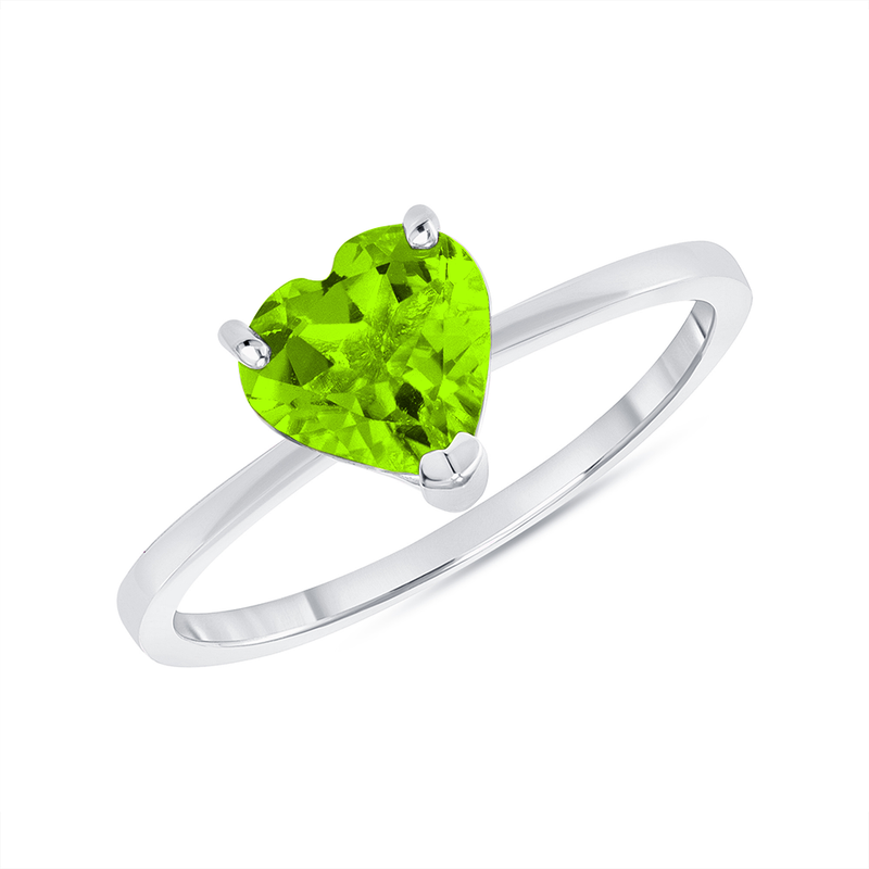 Heart Shape Solitaire Genuine Peridot Gemstone Birthstone Ring in White Gold
