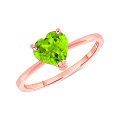 Heart Shape Solitaire Genuine Peridot Gemstone Birthstone Ring in Rose Gold