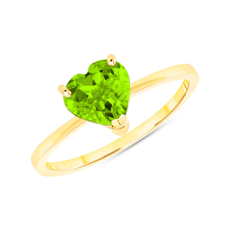 Heart Shape Solitaire Genuine Peridot Gemstone Birthstone Ring in Yellow Gold