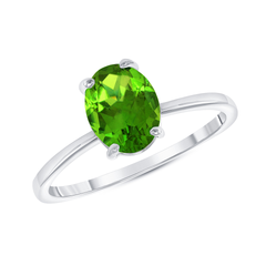 Oval Solitaire Genuine Peridot Gemstone Birthstone Ring in White Gold