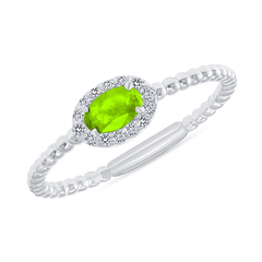 Diamond and Genuine Peridot Gemstone Birthstone Ring in White Gold