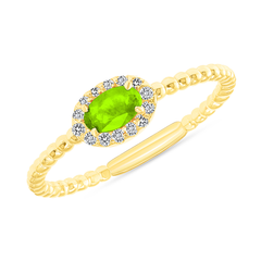 Diamond and Genuine Peridot Gemstone Birthstone Ring in Yellow Gold