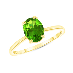 Oval Solitaire Genuine Peridot Gemstone Birthstone Ring in Yellow Gold
