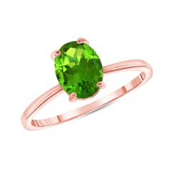 Oval Solitaire Genuine Peridot Gemstone Birthstone Ring in Rose Gold