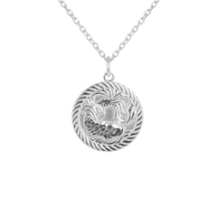 Reversible Pisces Zodiac Sign Charm Coin Pendant Necklace in Sterling Silver