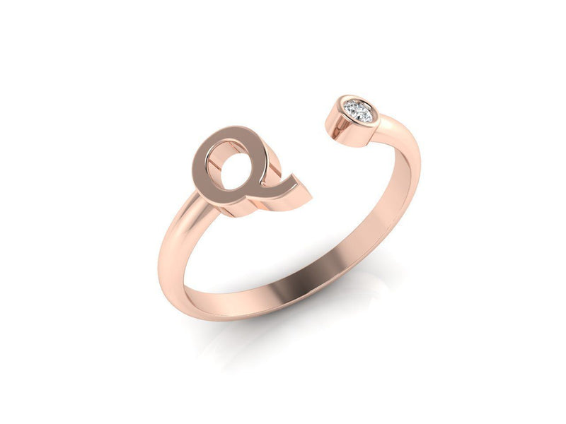 Dainty Diamond Initial 'Q' Ring in Rose Gold