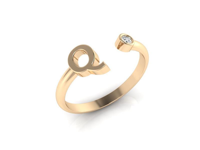 Dainty Diamond Initial 'Q' Ring in Yellow Gold