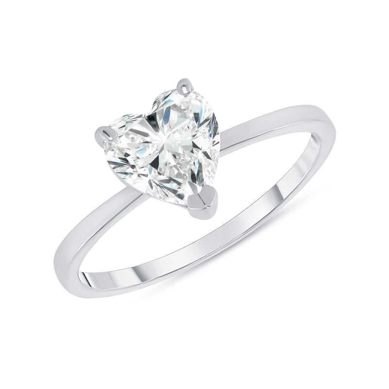 Heart Shaped CZ Engagement Ring in White Gold