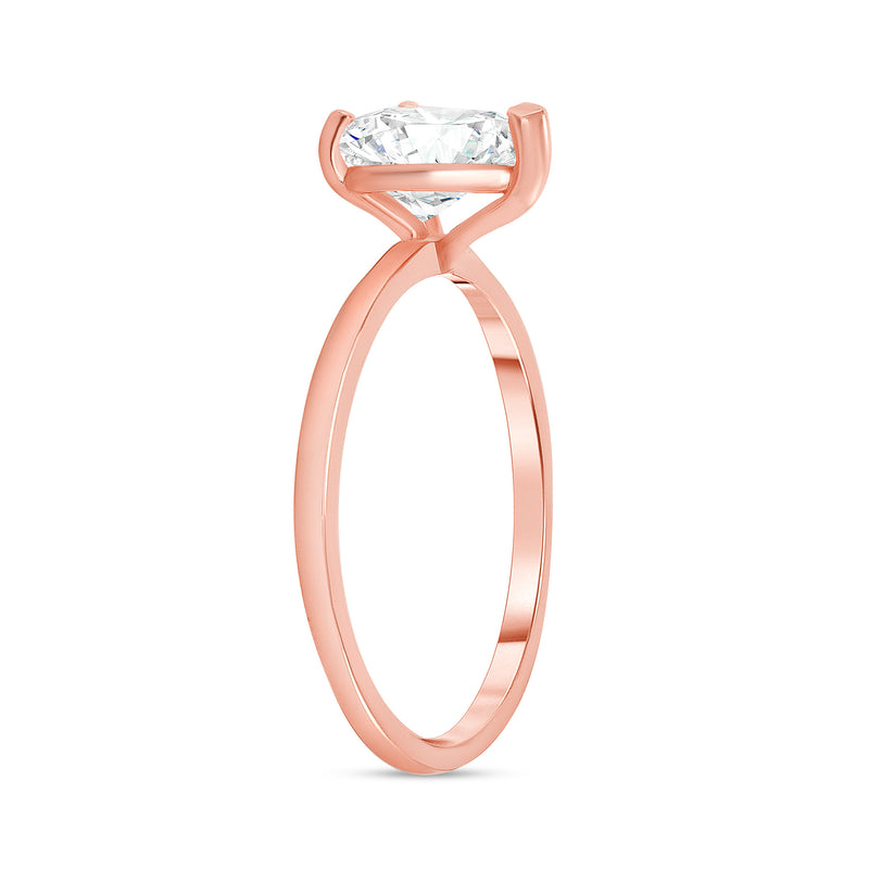Heart Shaped CZ Engagement Ring in Rose Gold