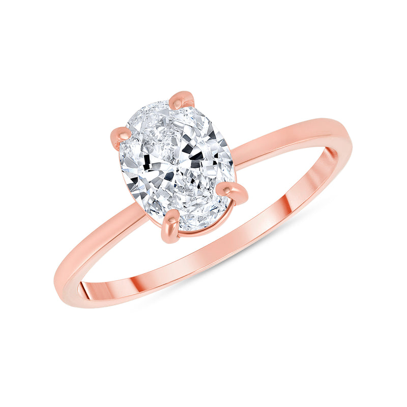 Oval Solitaire CZ Engagement Ring in Rose Gold (Small Size)