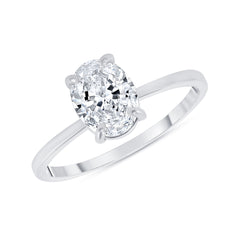 Oval Solitaire CZ Engagement Ring in White Gold (Small Size)