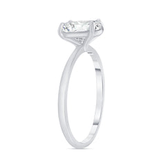 Oval Solitaire CZ Engagement Ring in Sterling Silver (Small Size)