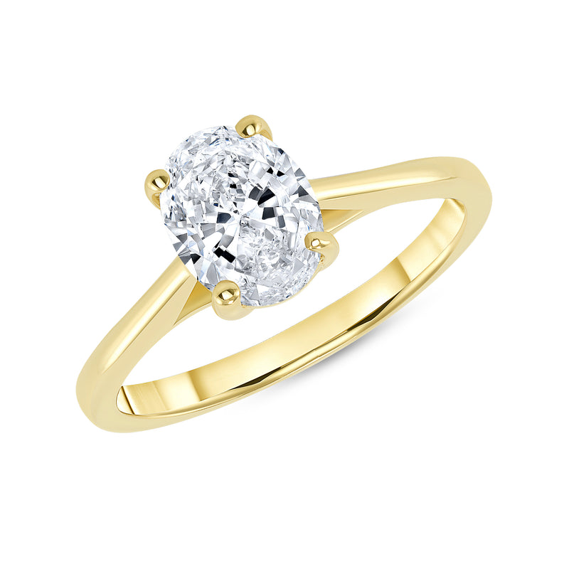 Oval Solitaire CZ Engagement Ring in Solid Gold (Medium Size)