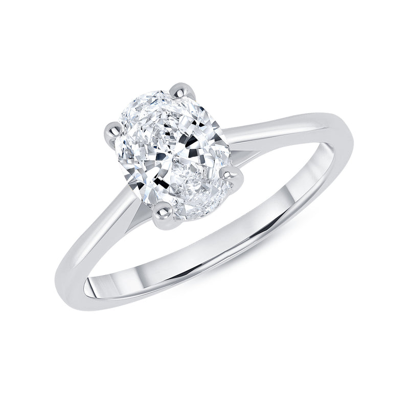 Oval Solitaire CZ Engagement Ring in White Gold (Medium Size)