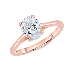 Oval Solitaire CZ Engagement Ring in Rose Gold (Medium Size)