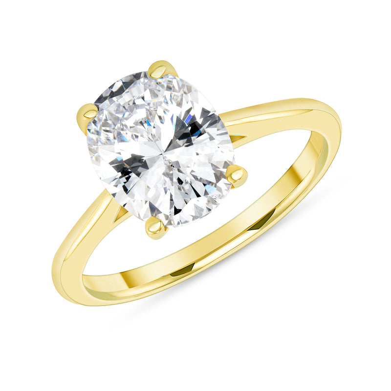 Oval Solitaire CZ Engagement Ring in Solid Gold (Large Size)