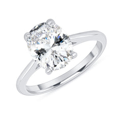 Oval Solitaire CZ Engagement Ring in White Gold (Large Size)