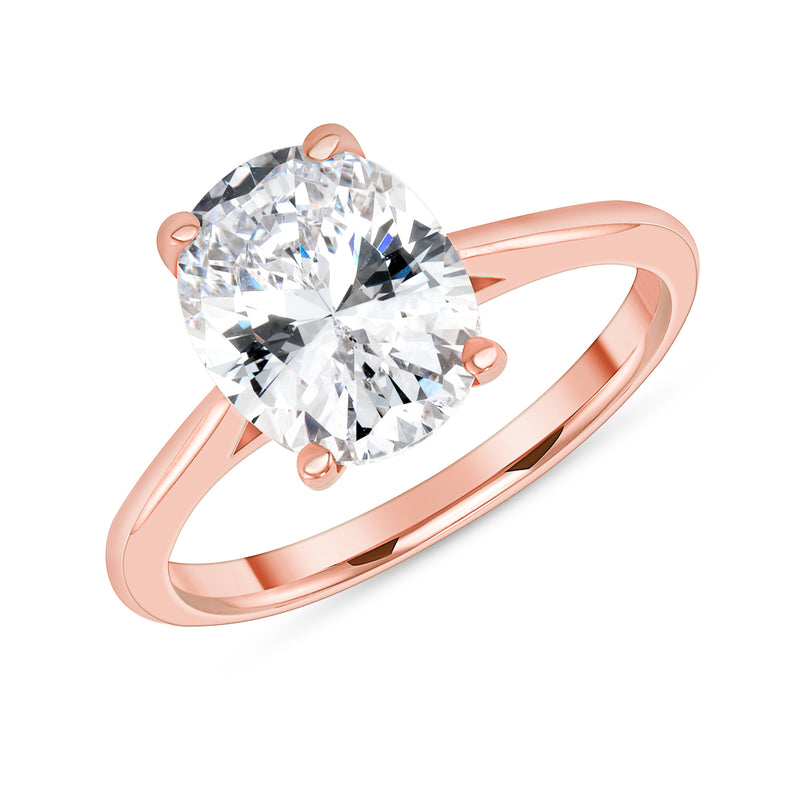 Oval Solitaire CZ Engagement Ring in Rose Gold (Large Size)