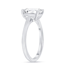 Oval Solitaire CZ Engagement Ring in Sterling Silver (Large Size)
