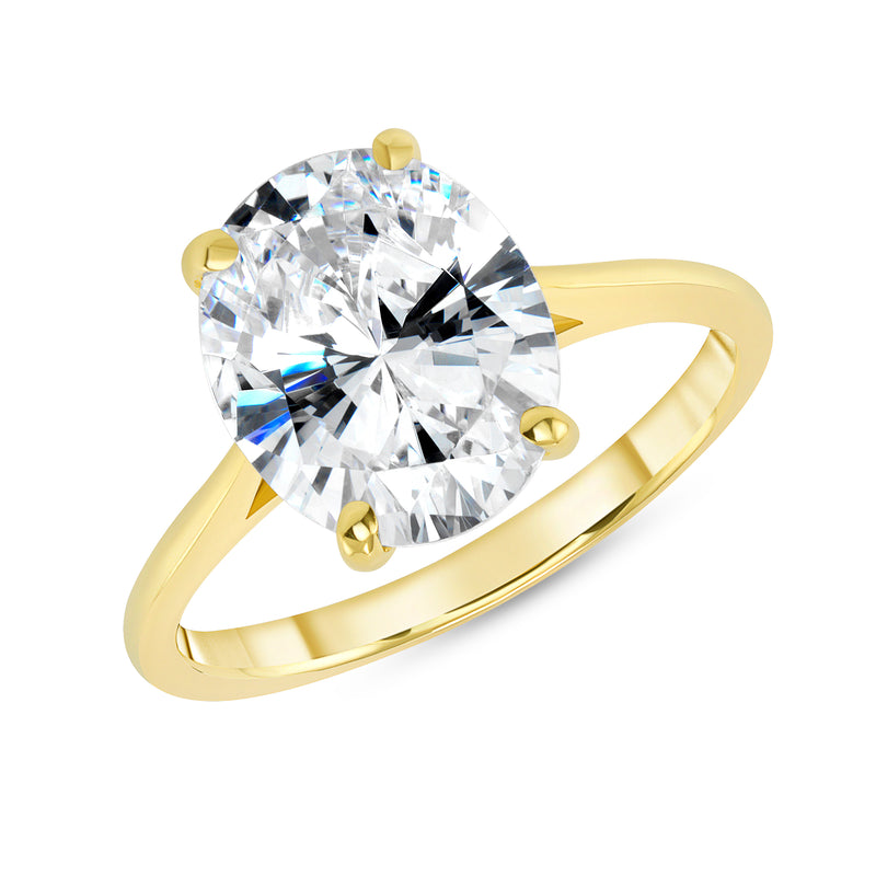 Oval Solitaire CZ Engagement Ring in Solid Gold (Extra Large Size)