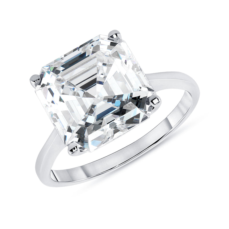 Asscher Cut AAA Cubic Zirconia Engagement Ring in White Gold