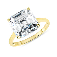 Asscher Cut AAA Cubic Zirconia Engagement Ring in Solid Gold