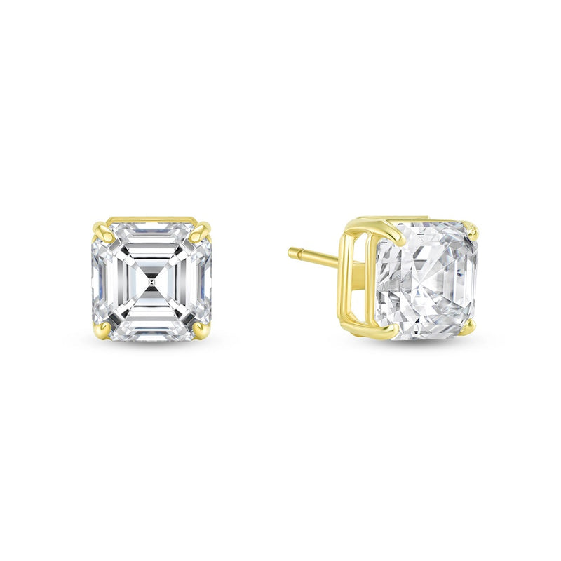 Solitaire Asscher-Cut CZ Stud Earrings in Solid Gold (Large Size)