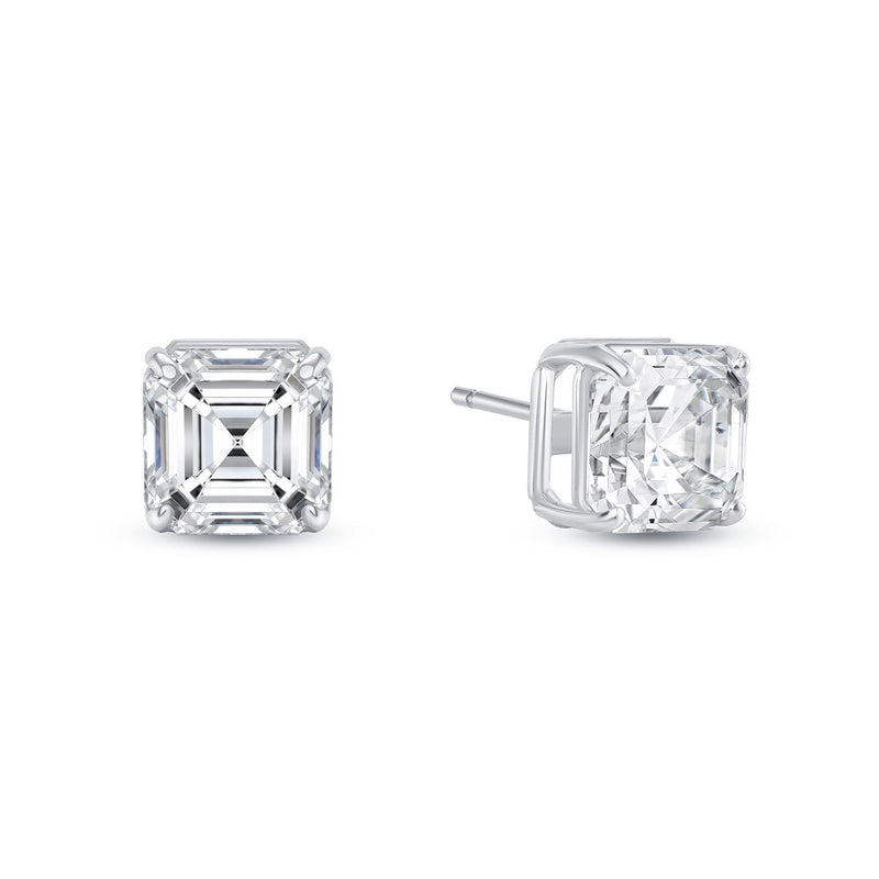 Solitaire Asscher-Cut CZ Stud Earrings in Sterling Silver (Large Size)