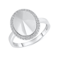 Diamond Oval Dome Statement Ring in White Gold