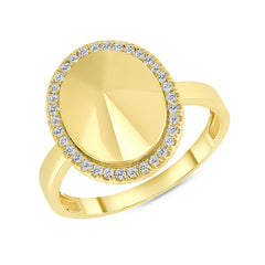 Diamond Oval Dome Statement Ring in Yellow Gold