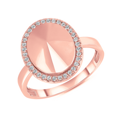 Diamond Oval Dome Statement Ring in Rose Gold