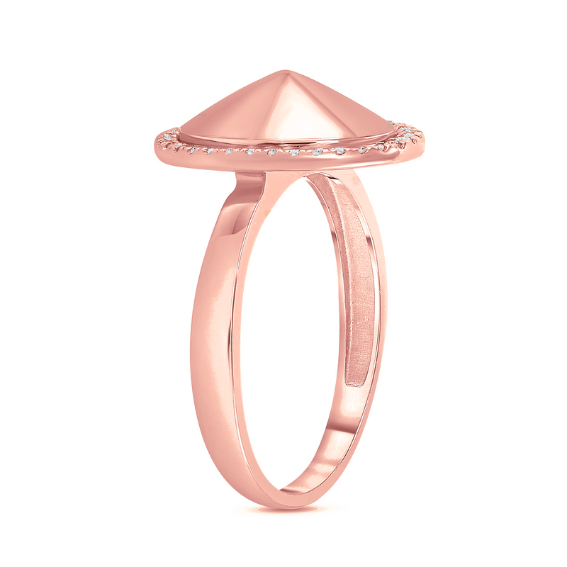 Diamond Oval Dome Statement Ring in Solid Gold