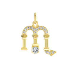 Scorpio Zodiac Cubic Zirconia Pendant/Necklace in Solid Gold