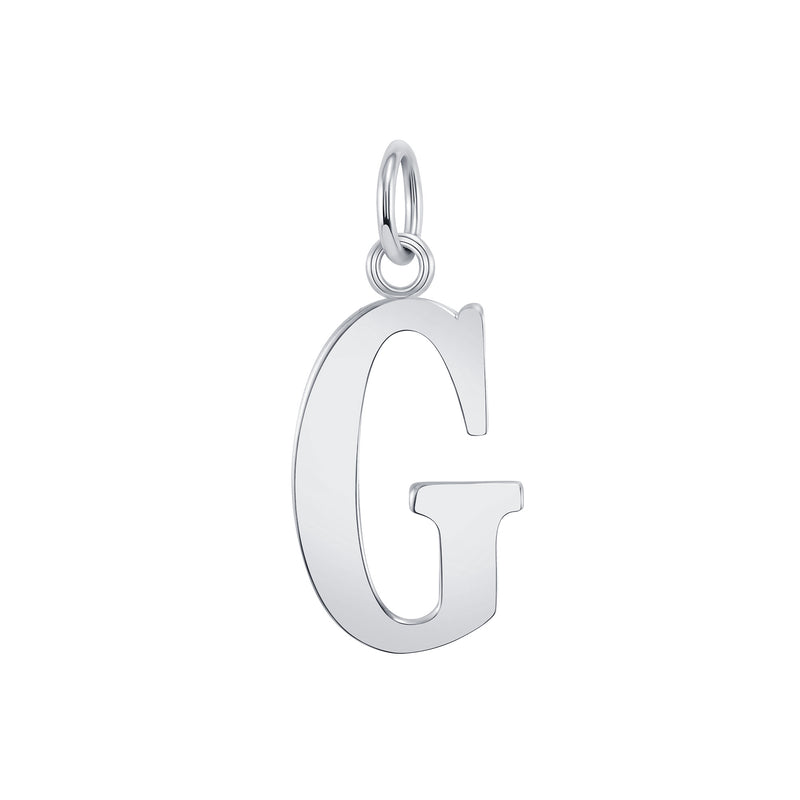 "Customizable Initial ""G"" Pendant Necklace in Sterling Silver"