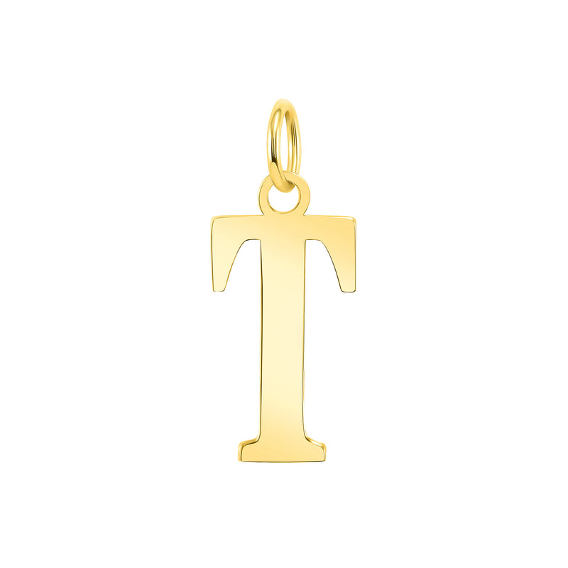 "Customizable Initial ""T"" Pendant Necklace in Solid Gold"