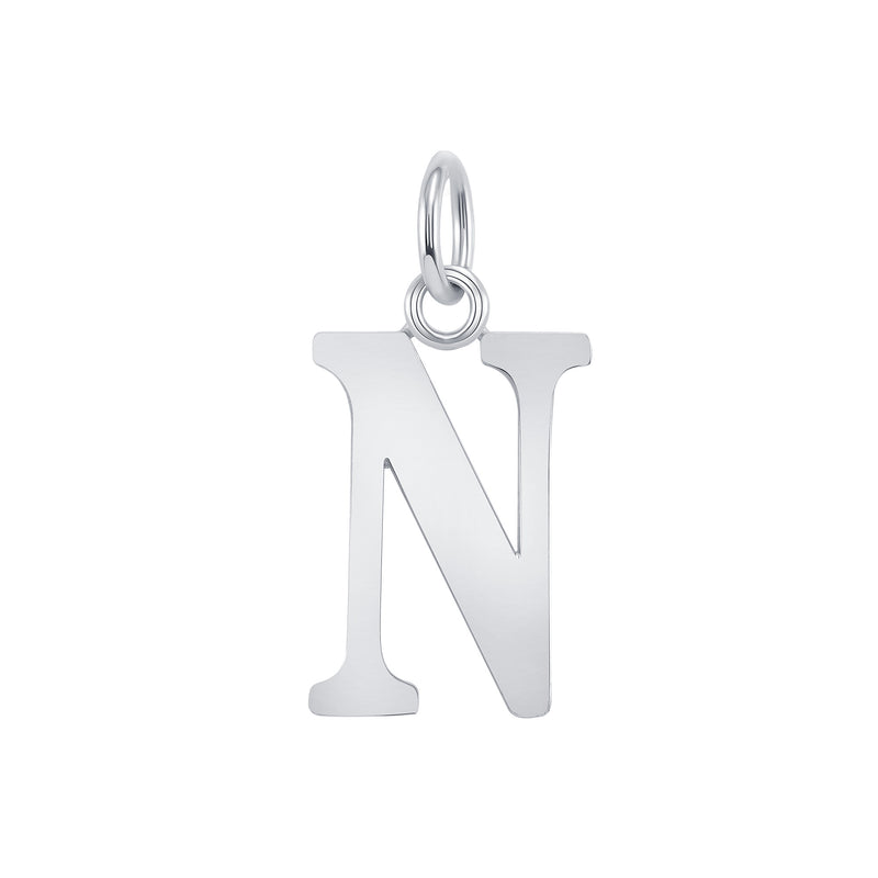 "Customizable Initial ""N"" Pendant Necklace in Sterling Silver"