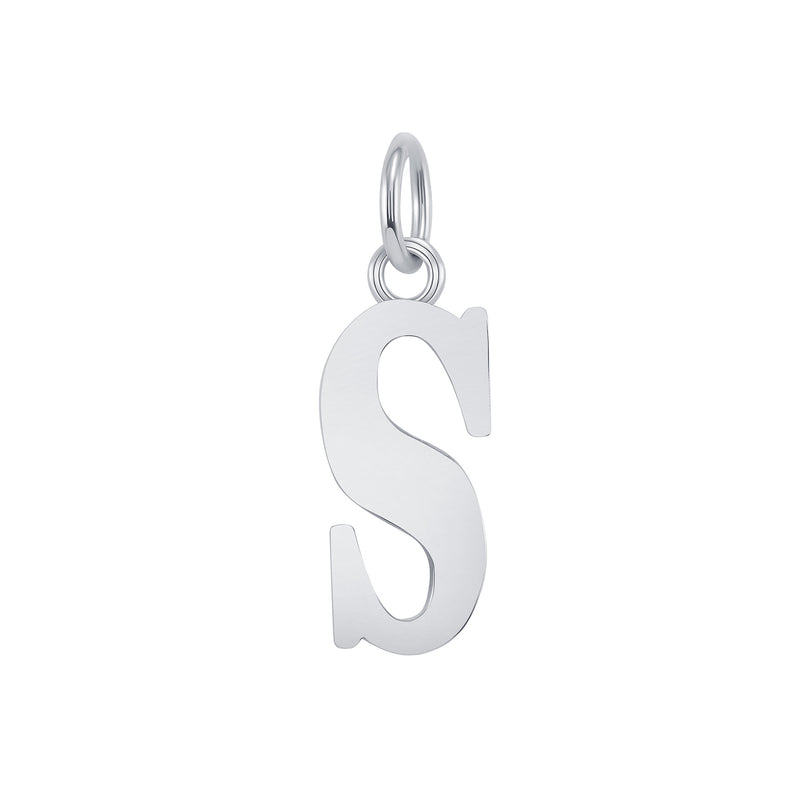 "Customizable Initial ""S"" Pendant Necklace in Solid Gold"